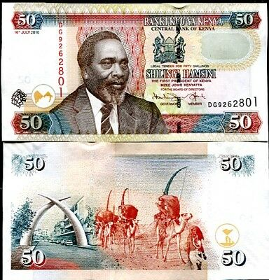 Kenya 50 Shillings 2010 P 47 Unc Lot 10 Pcs