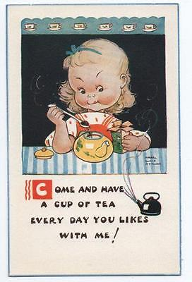 Comic Postcard of Girl  & Pot of Tea by Mabel Lucie Attwell. Valentine's #5230