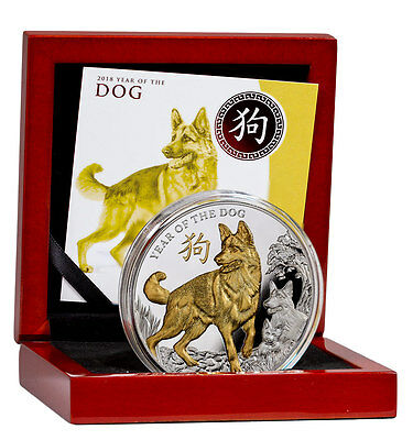 2018 Niue Year of Dog 5 oz High Relief Silver Lunar Gilt Proof $8 OGP SKU48924