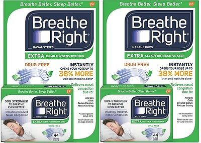 2pk Breathe Right Nasal Strips Extra Clear for Sensitive Skin 44 Clear Strips