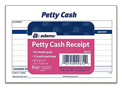 Adams Petty Cash Receipt Pad, 5 x 3-1/2 Inches, 50 Sheets per Pad, Pack of 12