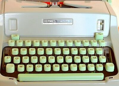Machine à écrire HERMES Media 3 touches vert mint   HERMES Typewriter vintage