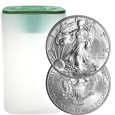 Lot of 20 Silver American Eagle BU 1 oz .999 fine Coins US Dollar 2017 Brilliant