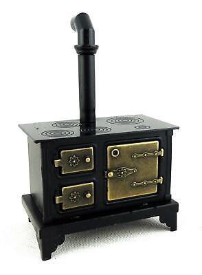 Melody Jane Dolls House Old Fashioned Black Metal Cooker Stove Miniature Kitchen