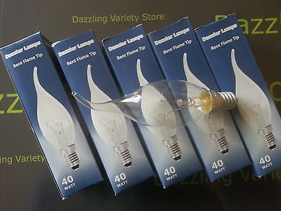 10x E14 40W Flame Tip Bent Candle CLEAR Lamp Light Bulb 240V Dimmable SES Joblot