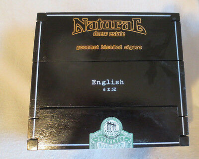 Drew Estate Natural English Black Wood Cigar Box With Tri-Fold Lid- Beautiful!