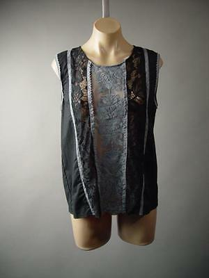 Victorian Black Sheer Doily Lace Gray Embroidered Cami Top  241 mv Blouse S M L