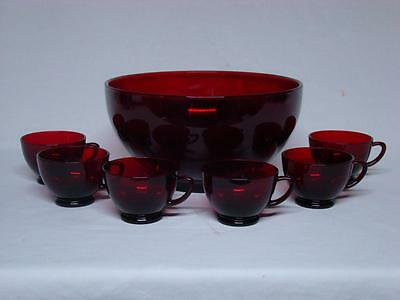 Anchor Hocking Ruby Red Glass Punch Bowl 6 Cups