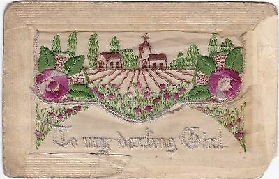 To My Darling Girl Floral Field & Church Scene Silk Postcard