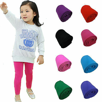 Toddler Kids Girls Cotton Pants Solid Color Slim Stretch Warm Leggings Trousers