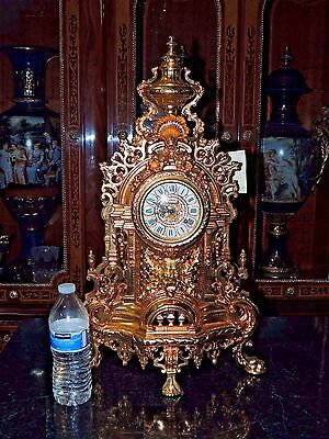 Rare Large Antique French Style Figural 24K Gilt Metal Clock