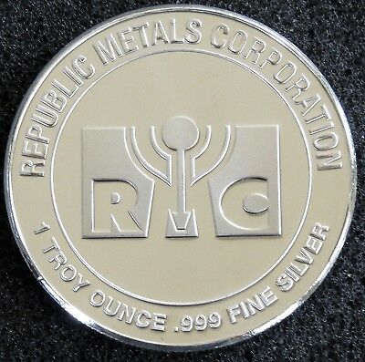 1 Oz Silver Round - Republic Metals Corporation (Rmc) .999 Fine Bu