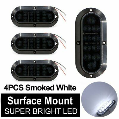 "4X White Smoked Surface Mount Oval Shape 6"" 10 LED Reverse Backup Light TMH 12V"