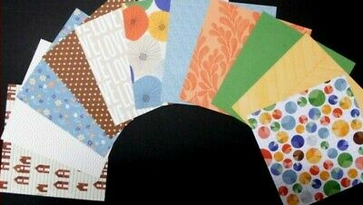 Colourful  ASSORTED PAPERS x 11 - 15cm x 15cm - (6 x 6) Scrapbooking/Cardmaking