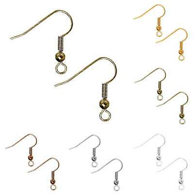 30g 140pcs Fish Hook Ear Wires Coil Earring Findings Jewelry Making 18mm PW