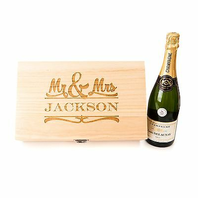Personalised Wedding Double Wine Champagne Box Gift Mr & Mrs Great Joint Gift