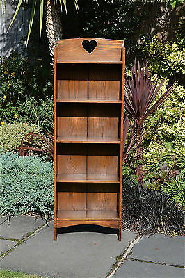 Arts and Crafts solid oak bookcase book shelves shelf heart cut out C.1900-1910