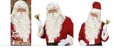 Platinum Deluxe Father Christmas Santa Claus Wig Beard Hat Glasses Gloves Bell