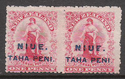 NIUE 1902 #9 VARIETY BROKEN E & N in pair with normal MINT EDV11 STAMP