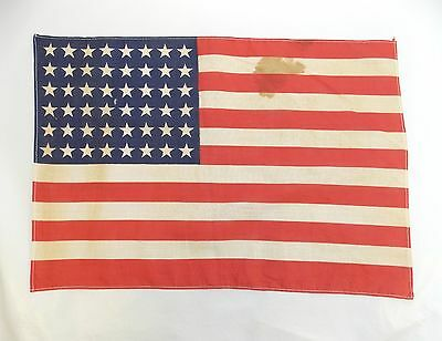 "Antique US FLAG 48 Star Small WWII Era Correct 11 1/2 X 16 3/4"" (Stains) 0313-18"