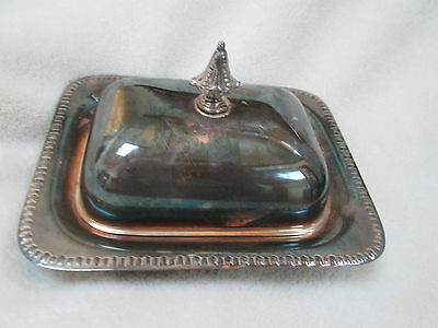 Vintage Sheffield Silver Co. Footed Silverplate Butter Dish