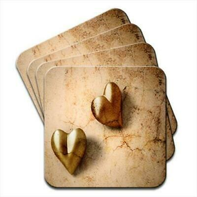 Rustic Vintage Gold Hearts Set of 4 Coasters