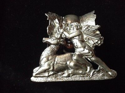 Large Victorian silverplate antique cherub and stag figural napkin ring