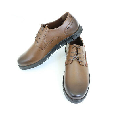 Men's 100% Leather Round Toe Oxford Lace Up Shoes