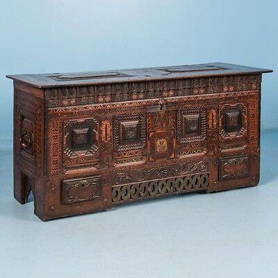 Antique 18th Century Danish Baroque Carved and Inlaid Marquetry Trunk