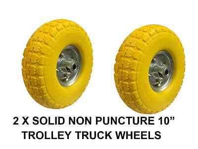 "Bn 2 X Replacement Sack Truck Wheel Wheels Solid Non Puncture 10"" Trolley Truck"