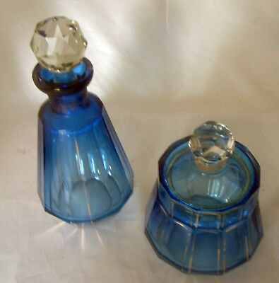 Cut Glass Perfume & Dresser Jar  - Scent Bottle  -  BLUE   Circa Early 1900's