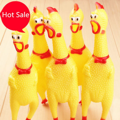 Shrilling Chicken Dog Screaming Squawking Rubber plastic Funny Trick Toy Gift