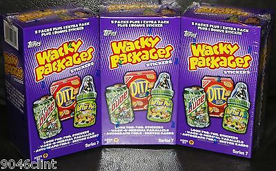 Wacky Packages 3 Box Lot Ans7 Sealed B4 Bonus Boxes + Exclusive Bonus Card Rare