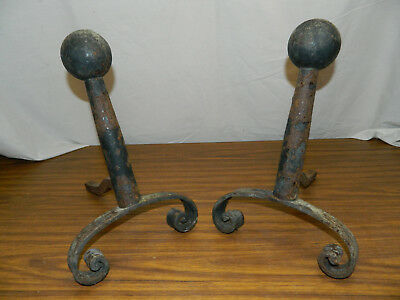 VTG Early Antique BLACK ANDIRONS fireplace hearth Cannon Ball &Scroll Feet Style