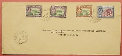 1951 Dominica Roseau Cancel Quad Franked To Curacao Netherlands