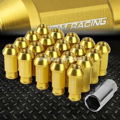 Jdm Open-End Universal Gold 20 Lug Nuts/set+Lock Key M12X1.25 25Mm Od/50Mm Tall
