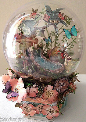 altered art mixed media fairy globe handcrafted graphic 45 forest stream OOAK