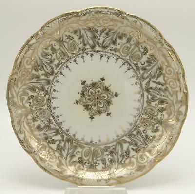 White and Gold Painted Ceramic Plate Platter 11 1/4""