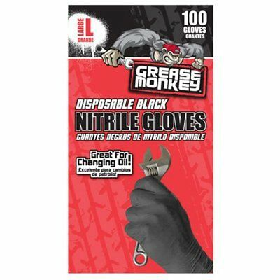 Grease Monkey Disposbale Nitrile Gloves, Large - Pack of 100 New