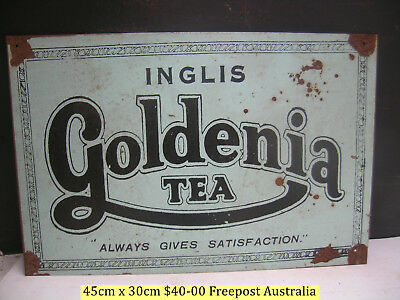 Goldenia Tea Retro Australiana Tin Sign Freepost Australia
