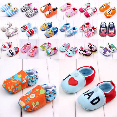 Baby Sneaker Prewalker Cotton Cartoon Toddler Shoes Soft Sole Pram Crib Girl Boy