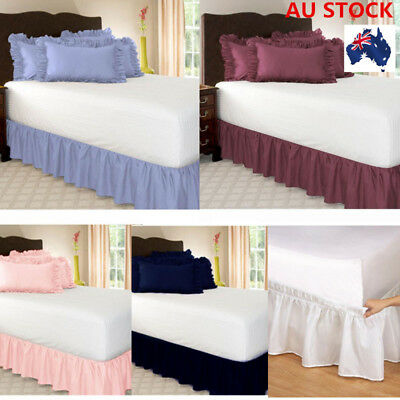 AU Elastic BED RUFFLE SHEERED SKIRT Pleated Wrap Around Single Queen King Size