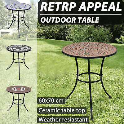 vidaXL Mosaic Side Table 60cm Ceramic Bistro Bar Garden Balcony Multi Colours