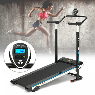 900W Folding Manual Treadmill Running Machine Cardio Fitness Exercise Incline