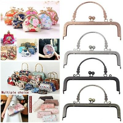 Square Metal Flower Purse Bag Frame Kiss Clasp Lock With Handle DIY Craft 20.5CM