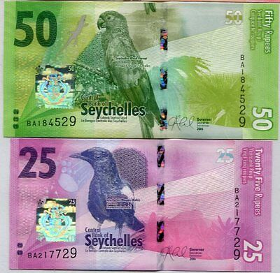 SEYCHELLES SET 2 UNC 25 50 RUPEES ND 2016 P NEW FAMILY DESIGN Colorful