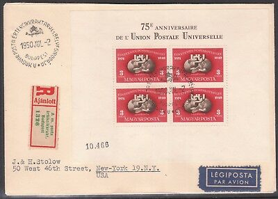 HUNGARY 1950 Mi#BL18A MIN SHEET REGISTERED BUDAPEST FIRST DAY COVER USA NEW YORK