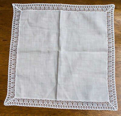 Ladies Lace Edged HANDKERCHIEF with Half Inch Lace Border Bridal wear