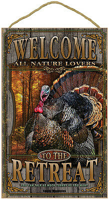 "WELCOME TO THE RETREAT 10"" x 16"" NATURE LOVER SIGN wood WILD TURKEY PLAQUE bird"