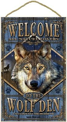 "WELCOME TO THE WOLF DEN 10"" x 16"" NATURE LOVER SIGN wood PLAQUE wild animal NEW"